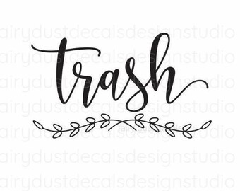 Trash Decal, Garbage Decal, Vinyl Letters, Vinyl Decal, Trash and Compost Recycle, Trash Barrel Vinyl Sticker, Kitchen Trash Can Decal