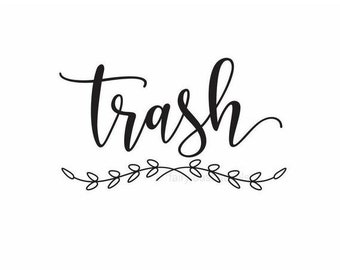 10% off sale Trash Decal, Garbage Decal, Vinyl Letters, Vinyl Decal, Trash and Compost Recycle, Trash Barrel Vinyl Sticker, Kitchen Trash Ca