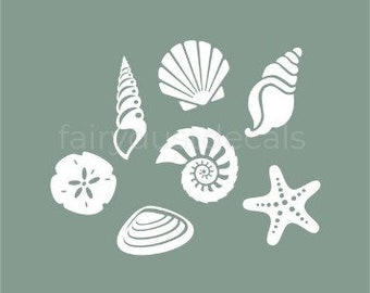 Seashell wall decals, beach decor vinyl stickers