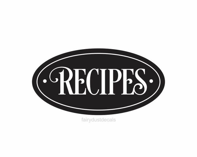 Recipes box label, kitchen canister vinyl decal