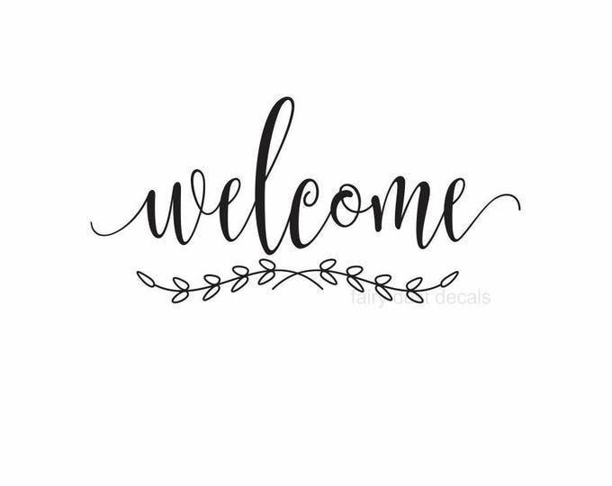 Welcome vinyl decal, handwritten script style letters, welcome sticker