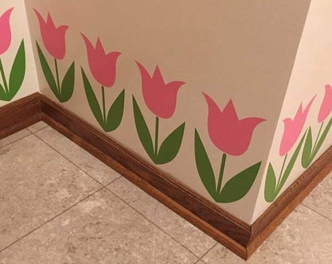 Tulip Flower Wall Decals, flower vinyl stickers, nursery bedroom decor, country garden tulip decals