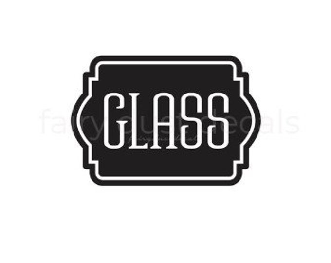 Trash Decal, Glass Vinyl Decal, Stickon Letters, Vinyl Decal, Recycle Glass Label, Recycle Bin Glass Vinyl Sticker, Kitchen Trash Can Decal