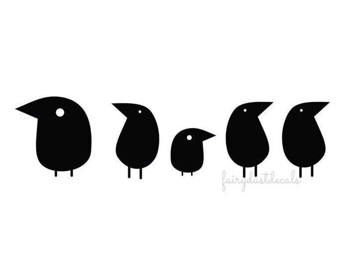 Bird wall decals - set of 5 birds - bird vinyl decal - bird wall decor - bird sticker - funky tree bird decal - black crow - bird wall decal