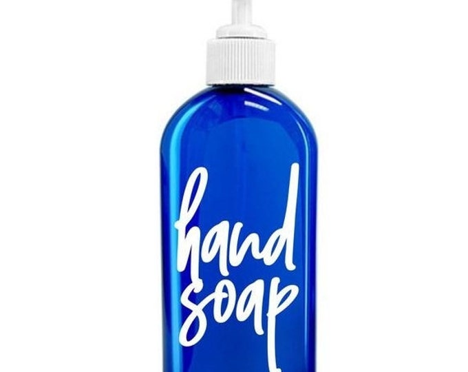 10% off sale Hand Soap Label for dispenser bottle, handwritten script style letter, hand soap vinyl decal