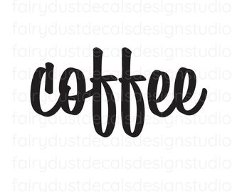 Coffee Decal, coffee canister label sticker, coffee lovers decor, coffee vinyl decal, script style letter