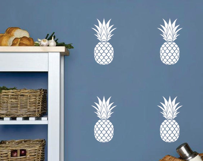 Pineapple decals, tropical decor, pineapple vinyl wall decals
