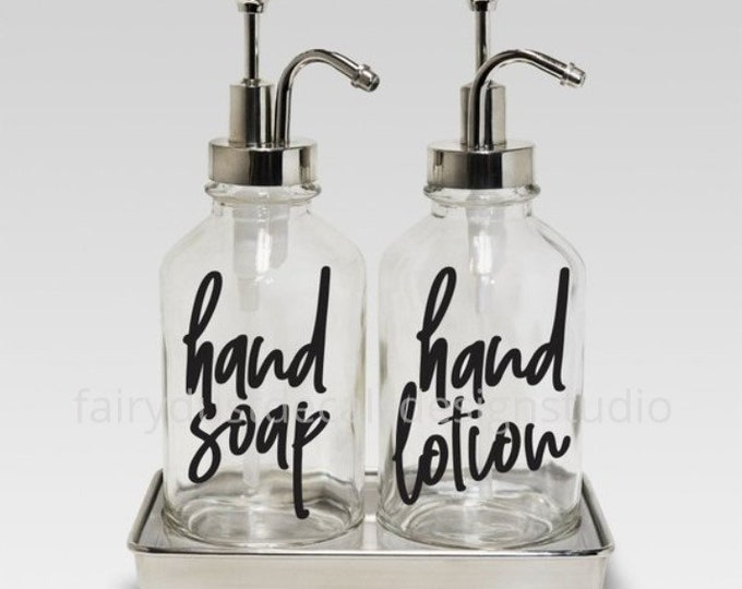 Hand Soap and Hand Lotion dispenser bottle decals, set of 2 labels