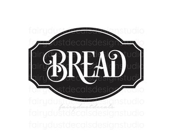 Bread box decal for kitchen pantry, bread box vinyl sticker, bread box sticker, bread vinyl decal, kitchen pantry canister label, bread box