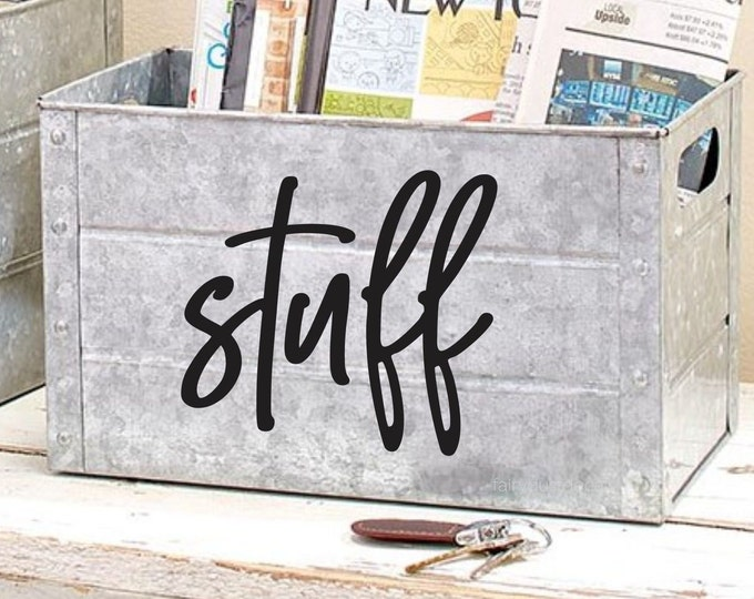 Stuff Decal, home organization command center, junk drawer label, container sticker, stuff vinyl decal
