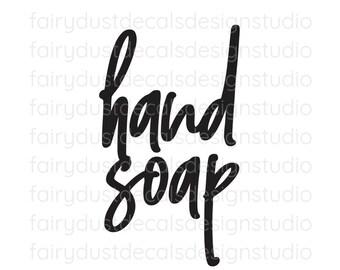 Hand Soap Label, soap dispenser bottle decal, handwritten script style letter, hand soap vinyl decal, original design