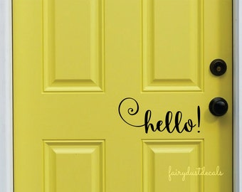 Hello Decal, Front Door Greeting, Wall Decal, Vinyl Lettering, casual loopey script style letter, Hello decal, hello door decal, front porch