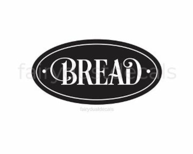 Bread Decal, Kitchen Canister Decal, Home Pantry Label, Bread Box Label Decal