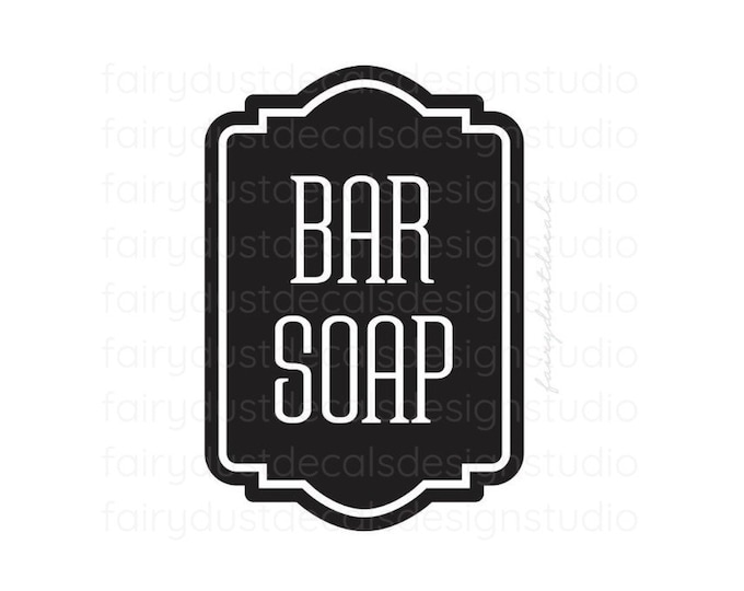 Bar Soap decal for canister, apothecary style bathroom decor, farmhouse bathroom, bar soap vinyl decal, storage sticker for body products