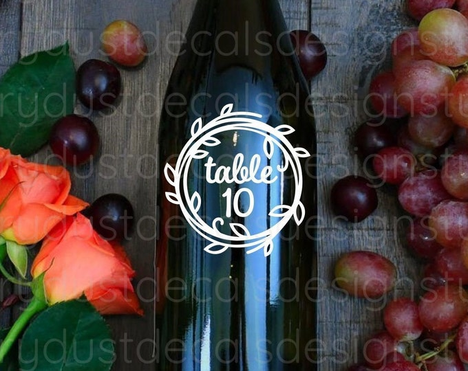 Wedding Table Number Decals, reception table number set, vine wreath design