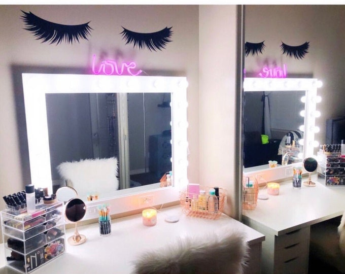 Featured listing image: Lashes Decor, Eyelash Wall Decal, Lashes Sticker