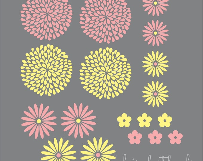 Flowers wall decals, set of 18 flower wall stickers, baby girl vinyl wall decal, mum decal, peony flower, extra flowers, baby nursery decals