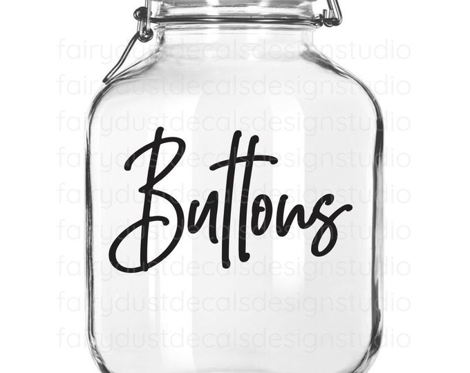 Buttons Decal, canister sticker, buttons vinyl decal for container