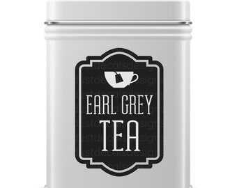 Earl Grey Tea Decal, teabag container label, loose tea tin sticker, free shipping
