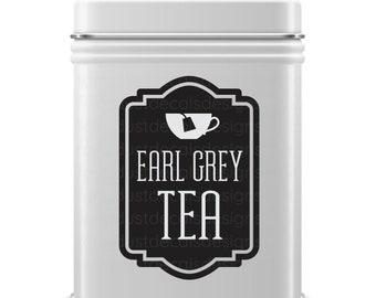 Earl Grey Tea Decal, teabag container label, loose tea tin sticker