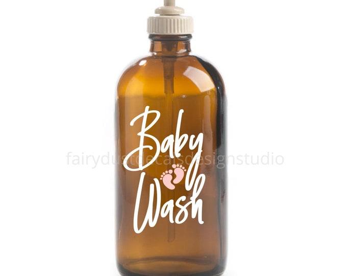 Baby Wash Label for glass dispenser bottle, baby body wash vinyl decal, new baby shower gift