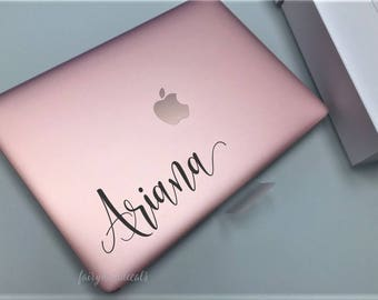 Personalized girl name, vinyl decal for laptop, handwritten script style letter, monogram