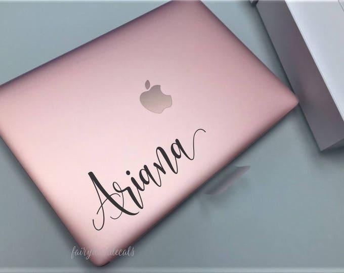 Personalized girl name, vinyl decal for laptop, handwritten script style letter, monogram