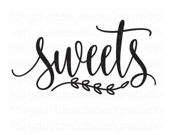 Sweets decal, wedding dessert table sign, chalkboard sticker, free shipping