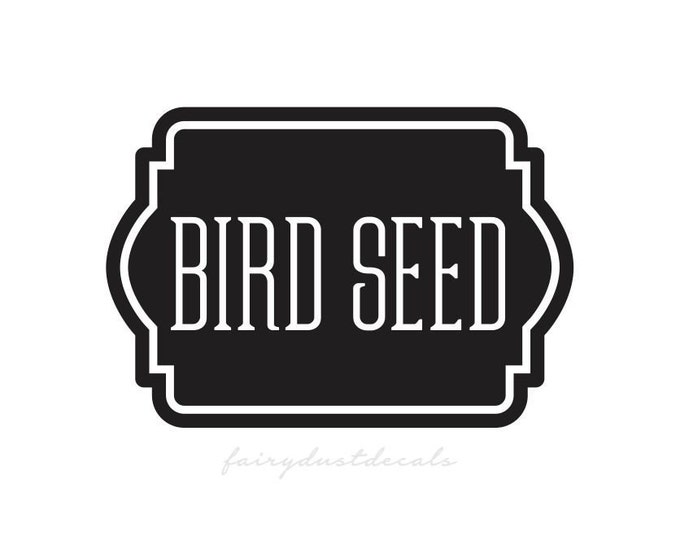 Bird Seed Container Label, Vinyl Decal for Bird Seed Canister, bird food vinyl decal label sticker, organize pantry and garage