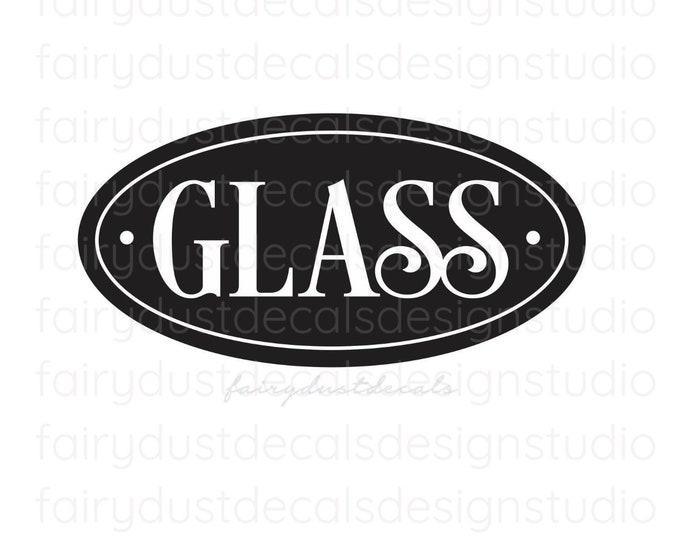 Recycle Glass Bottles Trash Bin Label, Vinyl Sticker, Recycling Vinyl Decal