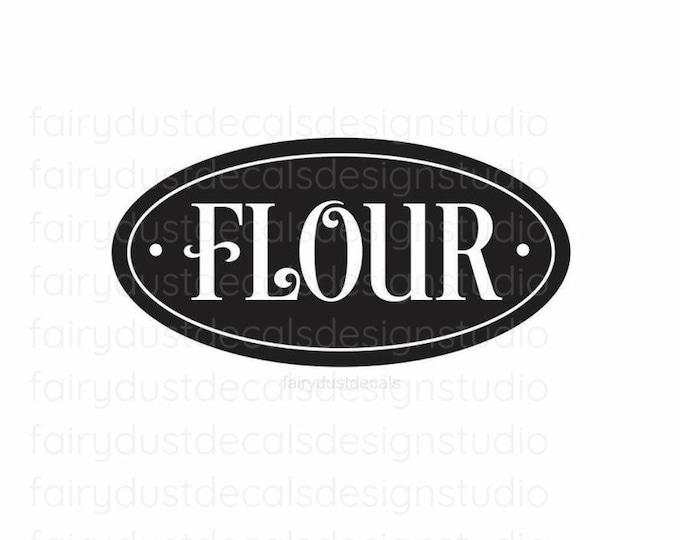 Flour Canister Label, baking flour vinyl decal, kitchan pantry home organization, flour sticker