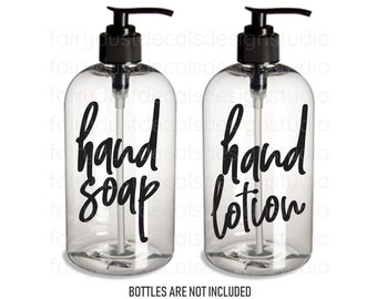 Hand Soap and Hand Lotion dispenser bottle decals, set of 2 labels, original design