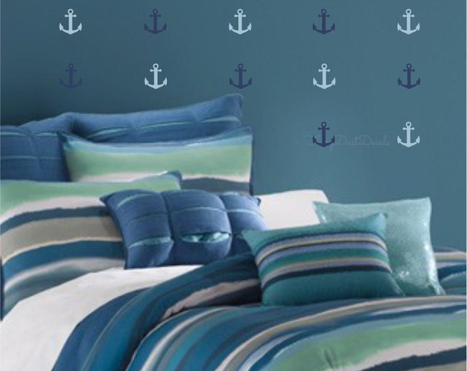 Anchor Wall Decals, nautical nursery bedroom wall stickers, sailboat anchor decals, set of 16