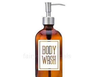 10% off sale Body Wash Label for dispenser bottle, square design vinyl decal
