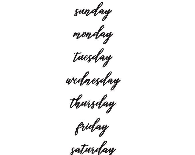 Days of the Week dry erase or chalkboard labels, weekly schedule, home organization, daily menu, script style letter, command center decals