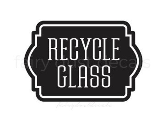 Recycle Glass Bottles Sticker, Recycling Bin Label, Vinyl Decal for Trash Barrel