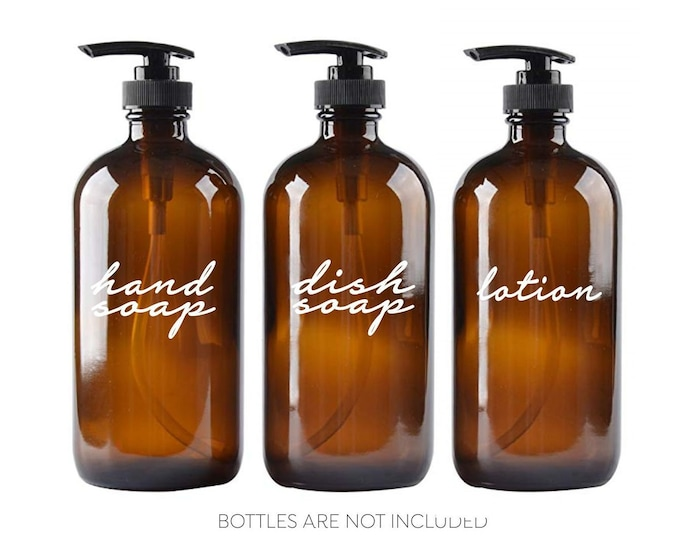 Featured listing image: Hand Soap Dish Soap Lotion Label Set, glass soap dispenser bottle vinyl decals, handwritten script style letter, apothecary style decal set