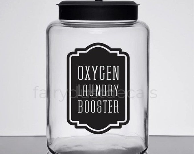 10% off sale Laundry Decal, Oxygen Booster Canister Label, Farmhouse Laundry, glass jar label, oxygen powder booster sticker for home laundr