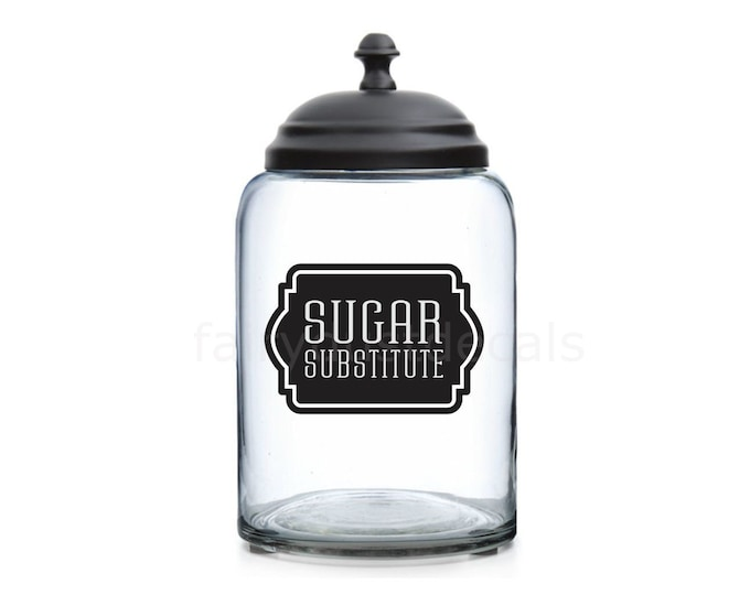 Sugar Substitute Canister Label, vinyl decal, organize kitchen pantry