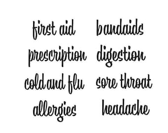 Bathroom Medication Organization, vinyl decals for bathroom closet, medicine cabinet labels, cold and flu, prescription stickers