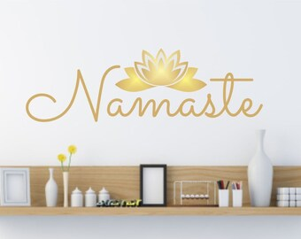 Yoga Studio Sign, Namaste Wall Decal, lotus flower sticker, dorm room decor