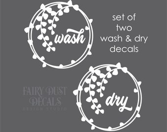 Laundry Room Decals, washer and dryer set, farmhouse style leaf wreath, original design, set of 2 decals