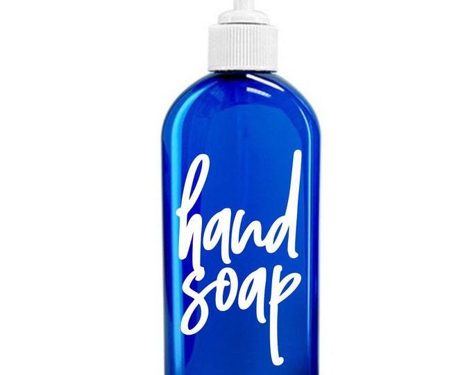 Hand Soap Label for dispenser bottle, handwritten script style letter, hand soap vinyl decal