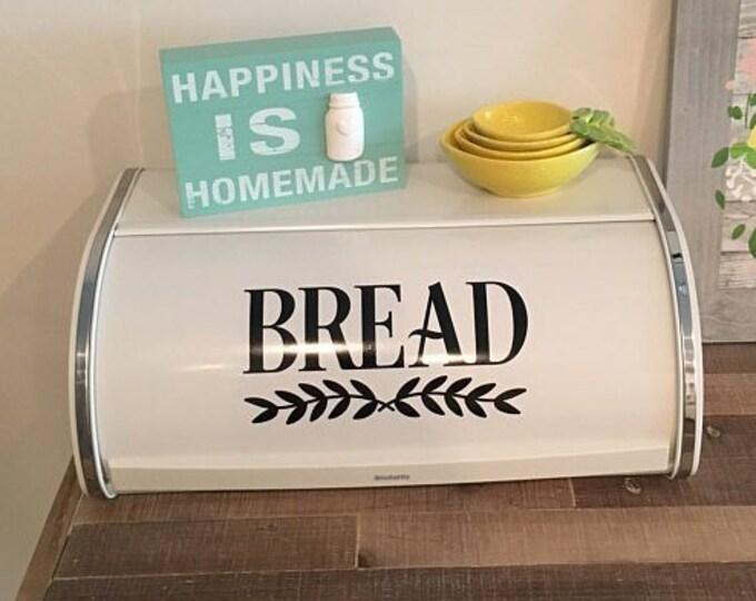 Bread Box Decal, vinyl sticker, bread box storage label, farmhouse style decor