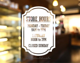 Store Hours Sign, Business Hours, Vinyl Decal, Business Hours Decal, Coffee Shop Sign, Salon Hours, Store Hours Decal, Window Sign Decal