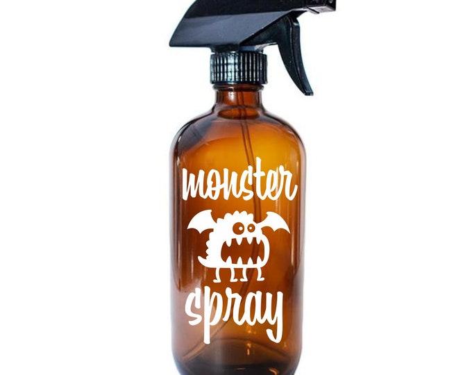 Monster Spray Label, Glass Bottle Decal, Monster Go Away Spray Sticker, essential oils linen air freshener vinyl decal, kids