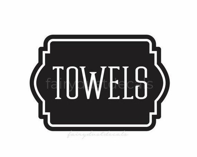 10% off sale Towels Decal, Linen Closet Bathroom Door Decal, linens and towels, bathroom and laundry organization, vinyl labels for home dec