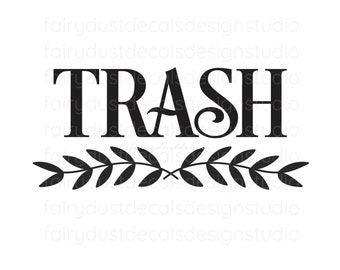 Trash Decal, Vinyl Sticker Label for Trash Can, Garbage Barrel Decal, Trash Vinyl Decal, Trash and Recycle Labels