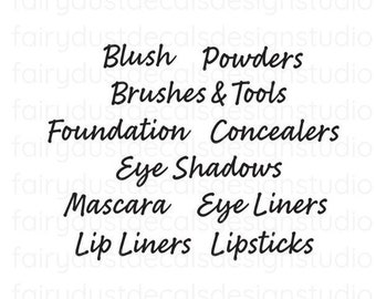Makeup Organization Decal Set, lipstick concealer eye shadow blush powder foundation, vinyl decals for makeup artist, makeup case labels