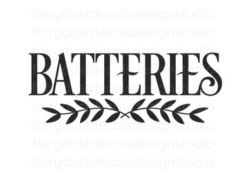Batteries Decal, organized home, free shipping